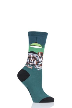 Ladies 1 Pair HotSox Artist Collection Dogs Playing Poker - Coolidge Cotton Socks Green 4-9 Ladies