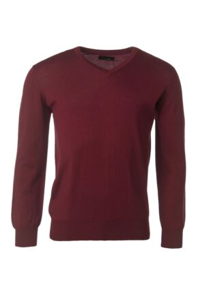 Mens Great & British Knitwear 100% Merino Plain V Neck Jumper Bordeaux B Small