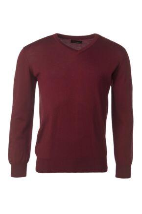 Mens Great & British Knitwear 100% Merino Plain V Neck Jumper Bordeaux F Xx-Large