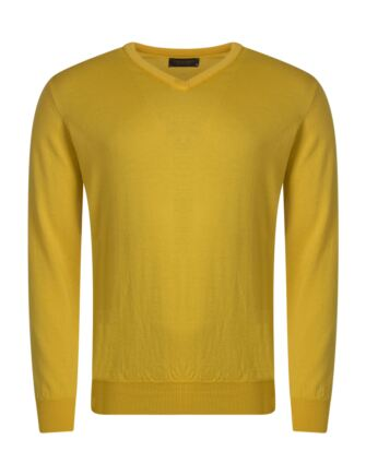 Mens Great & British Knitwear 100% Merino Plain V Neck Jumper Pamplemousse B Small