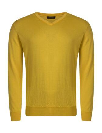 Mens Great & British Knitwear 100% Merino Plain V Neck Jumper Pamplemousse C Medium