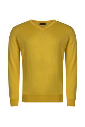 Mens Great & British Knitwear 100% Merino Plain V Neck Jumper Pamplemousse B Small