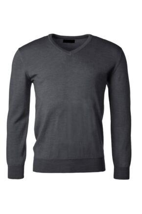 Mens Great & British Knitwear 100% Merino Plain V Neck Jumper Metallic F Xx-Large
