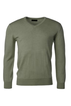 Mens Great & British Knitwear 100% Merino Plain V Neck Jumper Landscape B Small