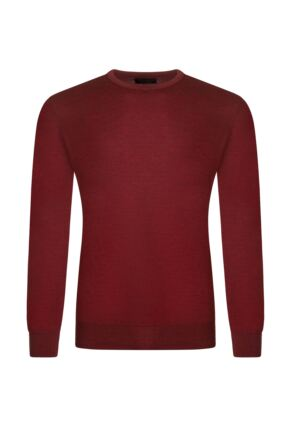 Mens Great & British Knitwear 100% Merino Plain Crew Neck Jumper Rouge D Large