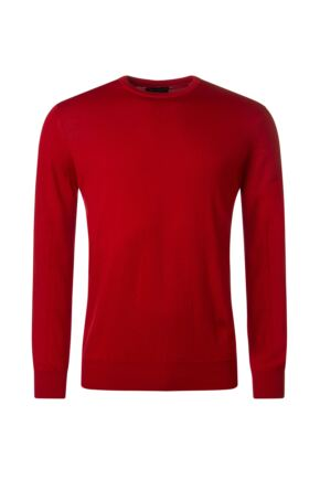 Mens Great & British Knitwear 100% Merino Plain Crew Neck Jumper Tartan Scarlet B Small