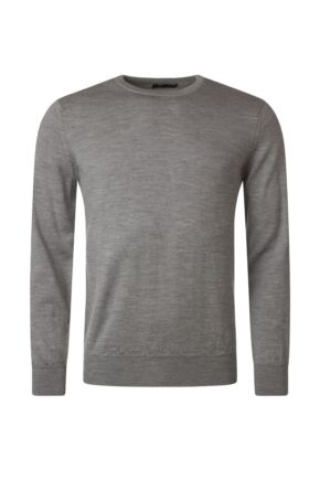 Mens Great & British Knitwear 100% Merino Plain Crew Neck Jumper Dove Grey D Large