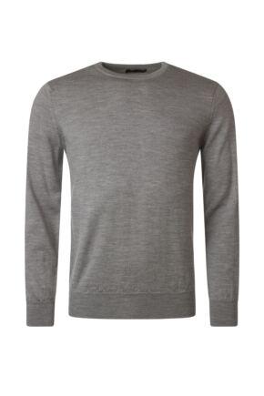 Mens Great & British Knitwear 100% Merino Plain Crew Neck Jumper Dove Grey D Large