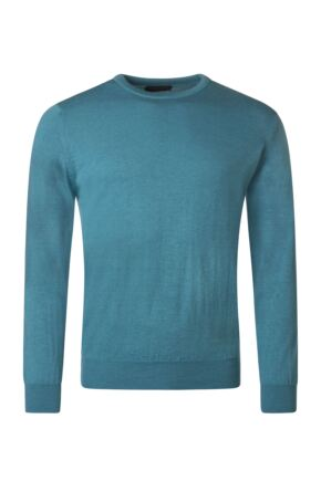 Mens Great & British Knitwear 100% Merino Plain Crew Neck Jumper Teal C Medium
