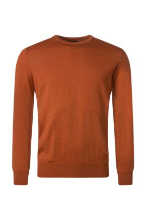 Mens Great & British Knitwear 100% Merino Plain Crew Neck Jumper Ember B Small