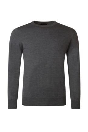 Mens Great & British Knitwear 100% Merino Plain Crew Neck Jumper Metallic D Large