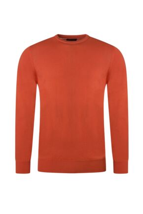 Mens Great & British Knitwear 100% Merino Plain Crew Neck Jumper Blaze C Medium