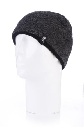 Mens 1 Pack Heat Holders Contrast Thermal Hat Charcoal  One Size