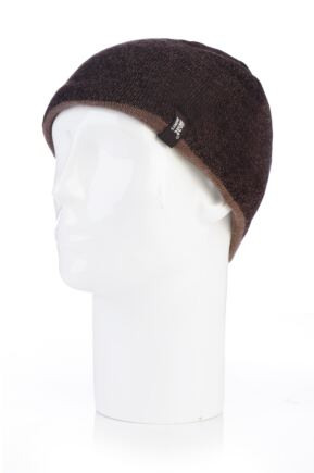 Mens 1 Pack Heat Holders Contrast Thermal Hat Brown One Size