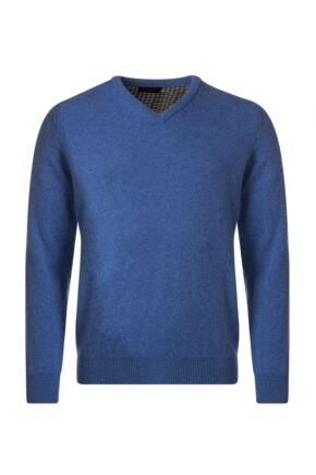Mens Great & British Knitwear Plain Lambswool V Neck Jumper with Harris Tweed Elbow Patches