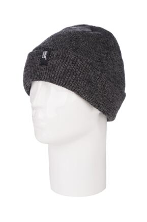Mens 1 Pack Heat Holders Turn Over Cuff Thermal Hat Charcoal  One Size