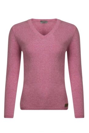 Ladies Great & British Knitwear 100% Lambswool V Neck Jumper with Elbow Patch Detail Nougat Small