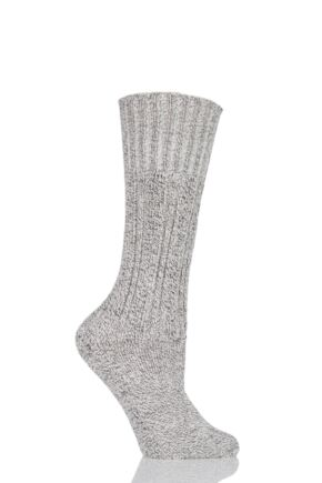 Ladies 1 Pair HJ Hall Classic Cotton Boot Socks Grey M