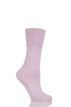 Ladies 1 Pair HJ Hall Health Range Bed Socks Pink 4-7