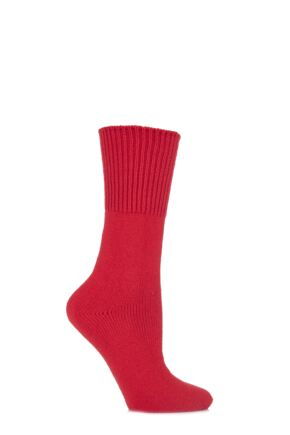 Ladies 1 Pair HJ Hall Health Range Bed Socks Red 4-7