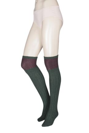 Ladies 1 Pair HJ Hall UK Made Honeycomb Wool Shooting Knee High Socks Forest 4-7 Unisex