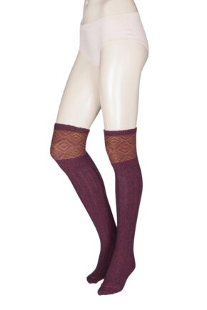 Ladies 1 Pair HJ Hall UK Made Duncliffe Wool Shooting Knee High Socks