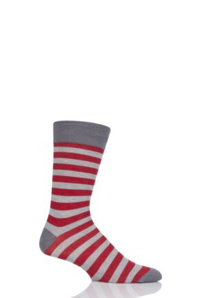 Mens 1 Pair HJ Hall Striped Bamboo Socks Grey 6-11 Mens