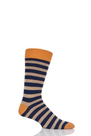 Mens 1 Pair HJ Hall Striped Bamboo Socks Orange 6-11 Mens