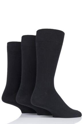 Mens 3 Pair HJ Hall Classic Plain Cotton Socks In Large Sizes