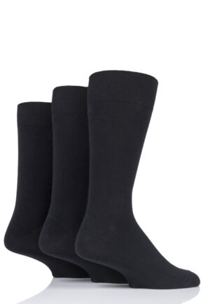 Mens 3 Pair HJ Hall Classic Plain Cotton Socks In Large Sizes