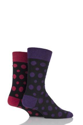Mens 2 Pair HJ Hall Generation V Cotton Polperro Spotty Socks