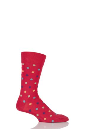 Mens 1 Pair HJ Hall Mercerised Cotton Washington Multi Coloured Spots Socks Scarlet 7-10