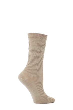 Ladies 1 Pair HJ Hall Original Wool Softop Socks Oatmeal