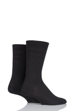 Mens 2 Pair HJ Hall Bamboo Softop Socks