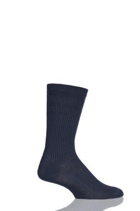 Mens 1 Pair HJ Hall Bamboo Softop Socks Navy 6-11
