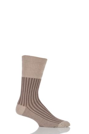 Mens 1 Pair HJ Hall Jester Striped Softop Socks Oatmeal 6-11