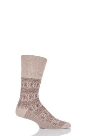 Mens 1 Pair HJ Hall Aztec Design Softop Socks Oatmeal 6-11
