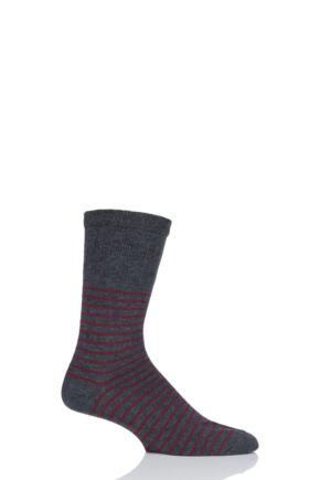 Mens 1 Pair HJ Hall Striped Cotton Soft Top Socks