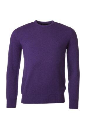 Mens Great & British Knitwear 100% Lambswool Plain Crew Neck Jumper Pinks and Purples Prune B Small