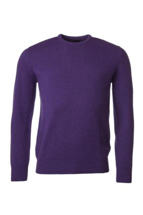Mens Great & British Knitwear 100% Lambswool Plain Crew Neck Jumper Pinks and Purples Prune F Xx-Large