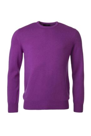 Mens Great & British Knitwear 100% Lambswool Plain Crew Neck Jumper Pinks and Purples Foxglove D Large