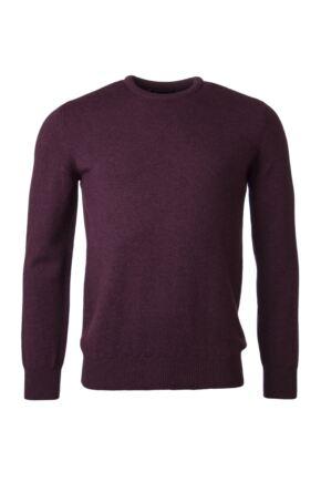 Mens Great & British Knitwear 100% Lambswool Plain Crew Neck Jumper Pinks and Purples Black Grape B Small