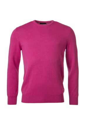 Mens Great & British Knitwear 100% Lambswool Plain Crew Neck Jumper Pinks and Purples Damask F Xx-Large