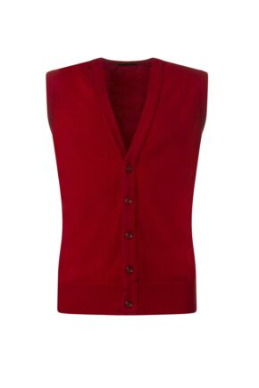 Mens Great & British Knitwear 100% Lambswool V Neck Waistcoat Dubonnet A Extra Small