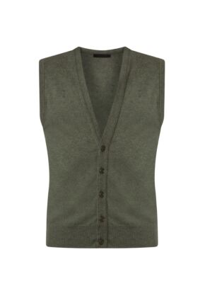 Mens Great & British Knitwear 100% Lambswool V Neck Waistcoat Landscape A Extra Small