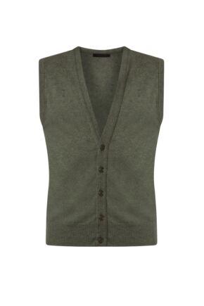 Mens Great & British Knitwear 100% Lambswool V Neck Waistcoat Landscape C Medium
