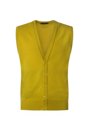 Mens Great & British Knitwear 100% Lambswool V Neck Waistcoat Piccalilli B Small