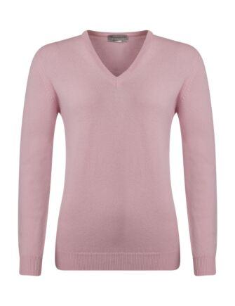 Ladies Great & British Knitwear 100% Lambswool Plain V Neck Jumper Candy C Medium