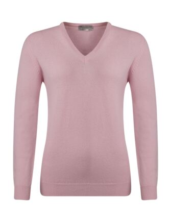 Ladies Great & British Knitwear 100% Lambswool Plain V Neck Jumper Candy B Small