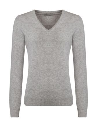 Ladies Great & British Knitwear 100% Lambswool Plain V Neck Jumper Pearl Grey D Large